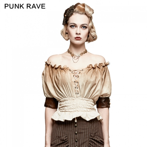 PUNK RAVE off-shoulder short sleeve Steampunk T-shirt T-444