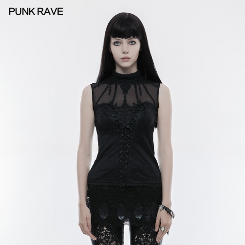 PUNK RAVE Mercerized Cotton Sleeveless Womens T-shirt WT-496
