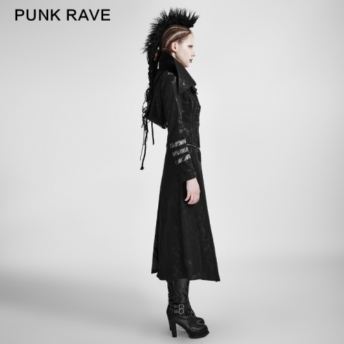 PUNK RAVE High Lapel Collar Woman Long Coat Y-364