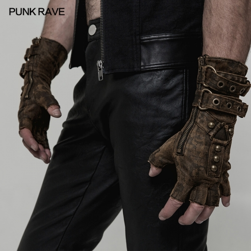 PUNK RAVE steampunk men fingerless gloves WS-252