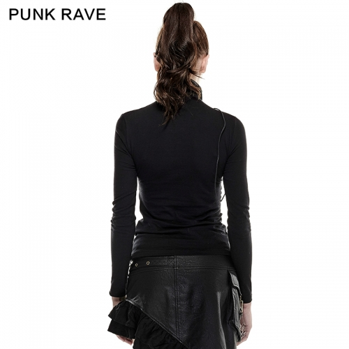 PUNK RAVE High Collar Woman Tight Mesh T-shirts T-432
