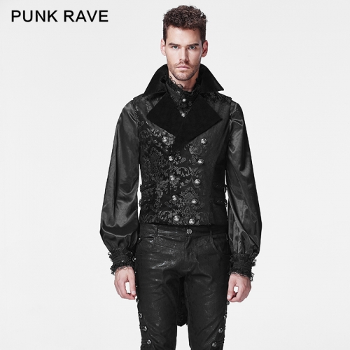 PUNK RAVE wholesale gothic cotton man waistcoat Y-596