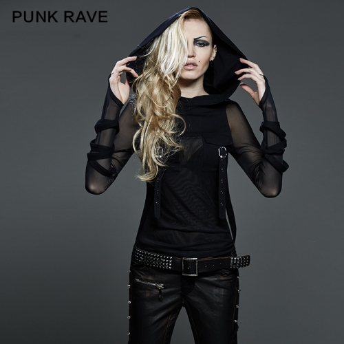 PUNK RAVE Wholesale Trendy Street Big Hood T-shirts T-407