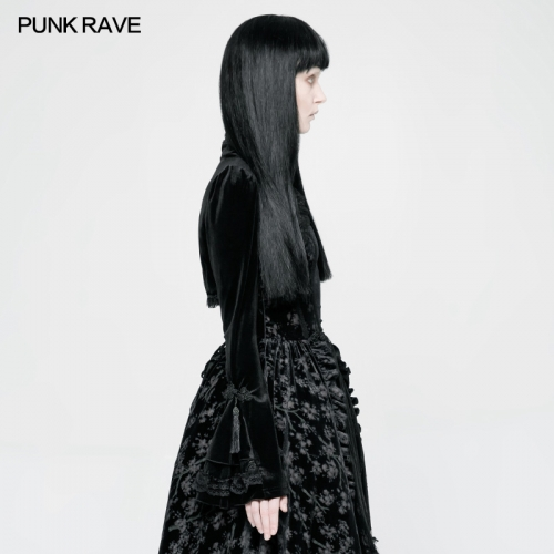 PUNK RAVE lolita girls black velvet short coat WLY-080