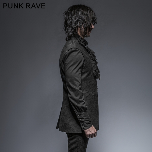PUNK RAVE stand-up collar V-neck Man Long vest Y-642