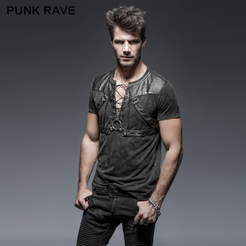 PUNK RAVE Steampunk cotton Short Sleeve T-shirt T-424