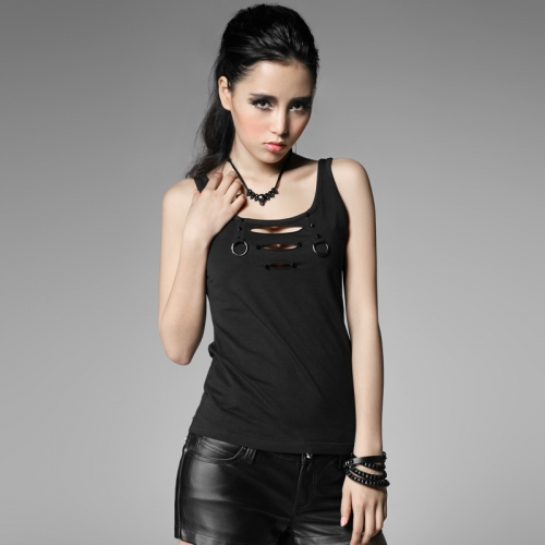 PUNK RAVE sleeveless black punk T-shirt T-317
