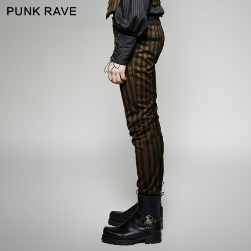 PUNK RAVE  Rugged Stripes Woven Elegant Pants K-271