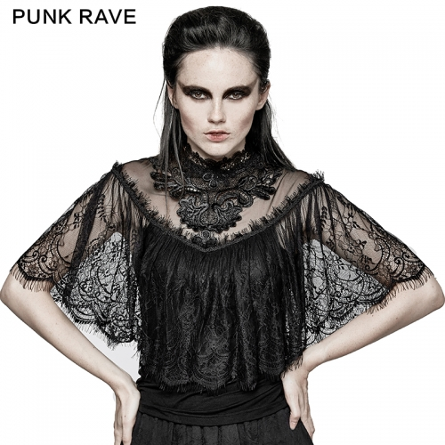 PUNK RAVE Gothic lace shrug shawl T-shirts T-455