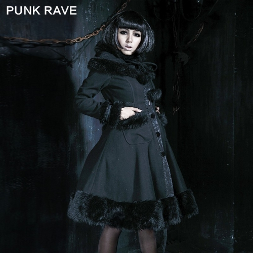 Punk Rave Lolita black  medium long Coats  LY-045