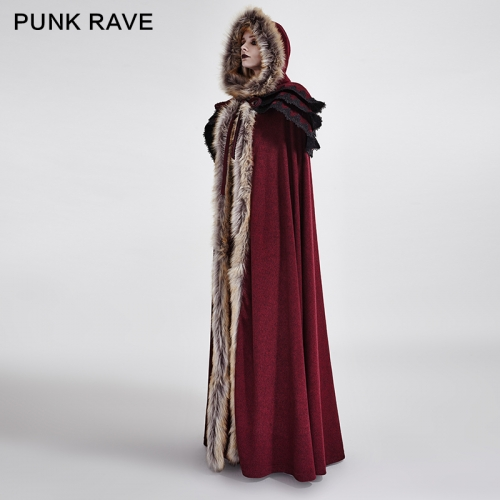PUNK RAVE  Winter Long Wool Fur Cloak Y-673