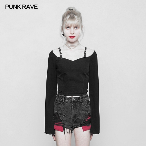 PUNK RAVE  Black Chiffon Girl T-shirt OPT-230