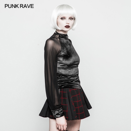 PUNKRAVE Velvet Women Sexy Mesh Top OPT-195