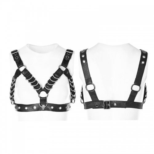 Punk Rave D ring body harness metal punk corset WS-257