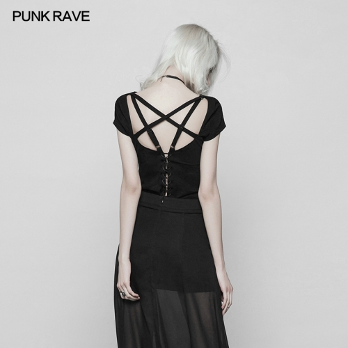 PUNK RAVE dark short girl T-shirt OPT-251