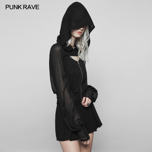 PUNK RAVE Dark chiffon cap short coat OPY-320