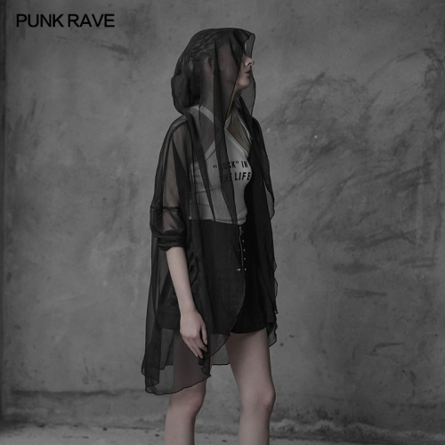 PUNK RAVE Minimalist chiffon big wizard hat coat OPY-319