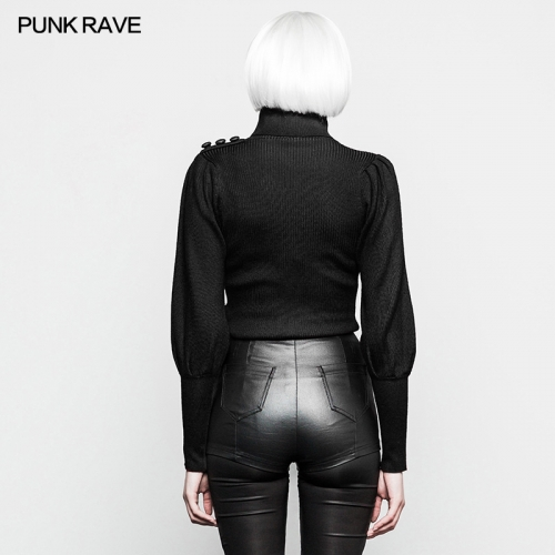 PUNK RAVE lantern sleeves high collar woman sweaters OYM-079