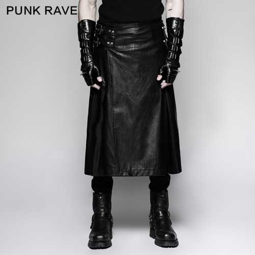 Punk Rave scottish men's long leather skirts Q-324