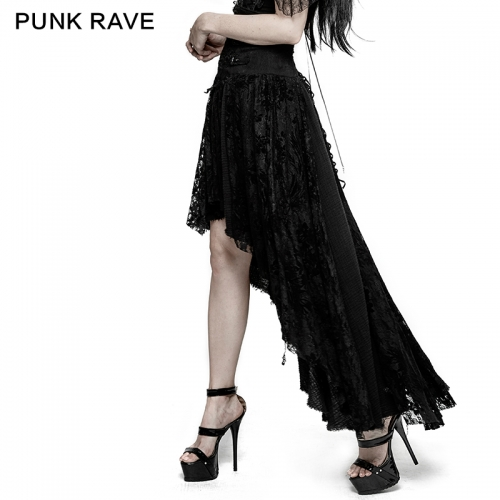 Punk Rave  flower embroidery high low skirt Q-313