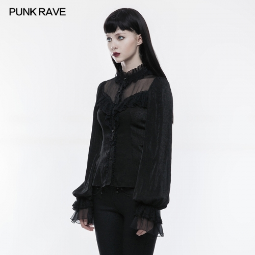 PUNK RAVE Lolita large puffed sleeve lace collar blouse WLY-074