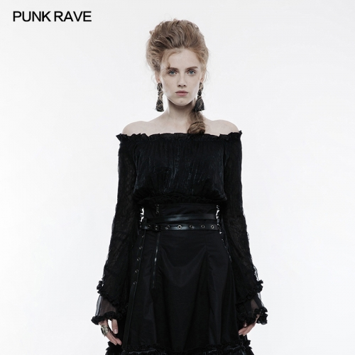 PUNK RAVE Lolita  Horizontal Neck Noble  T-shirt WLT-010