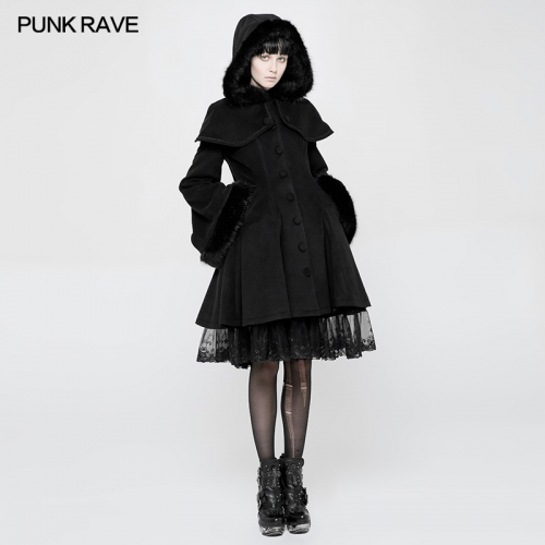 PUNK RAVE Lolita Medium Length Wool Dress Coats WLY-078