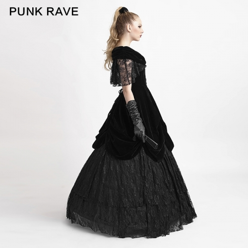 Punk Rave Velvet Party Evening Dress Q-273