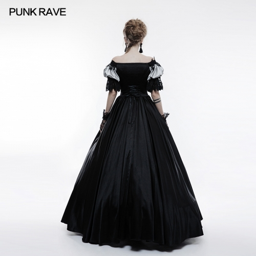 PUNK RAVE Gothic bubble sleeve  long dress WQ-356