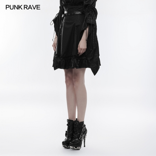 PUNK RAVE A-type High Waist Canvas Skirt WQ-353