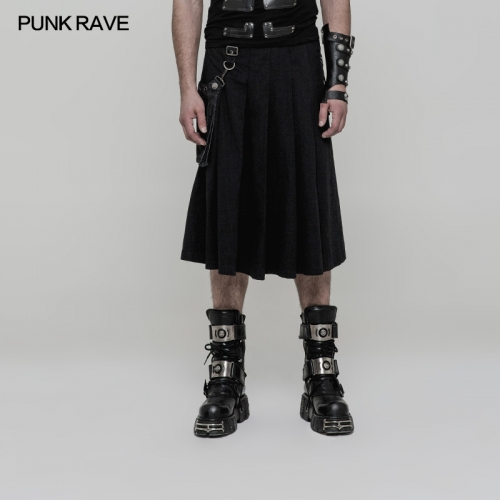 PUNK RAVE Men's Half Long Skirt WQ-362