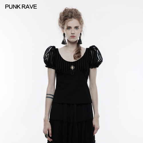 PUNK RAVE Sexy Wide Neck Short Sleeve T-shirt WT-489
