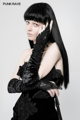 PUNK RAVE  Gothic velvet long gloves   WS-265