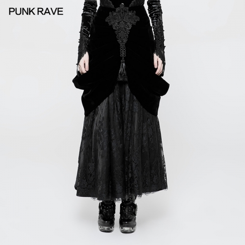 PUNK RAVE Gothic long half pleated skirt WQ-364