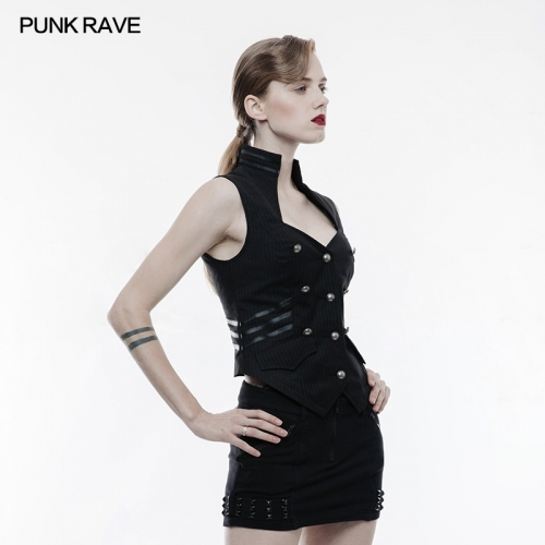 PUNK RAVE Uniform Striped Woven Canvas Vest WY-774