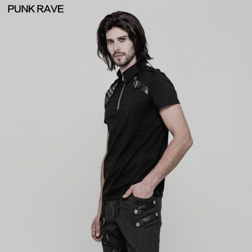 PUNK RAVE Zipper Fitted Knitted Men T-shirt WT-517