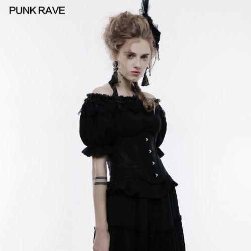 PUNK RAVE Women's Lace Boned Bustier Corset WY-838