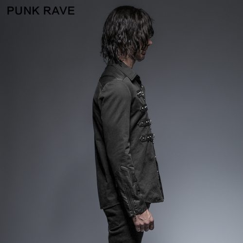 Punk Rave black rock metallic slim man shirt Y-634