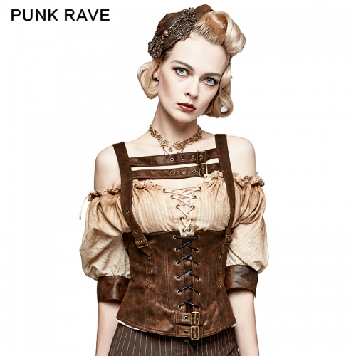 PUNK RAVE  drawstring tight leather corset S-204