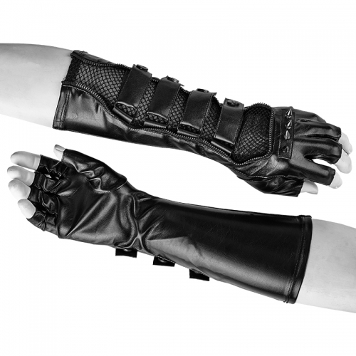 PUNK RAVE Length PU Coated Male Gloves S-214