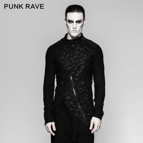 PUNK RAVE O-Neck embroidery ruffled t-shirts T-458
