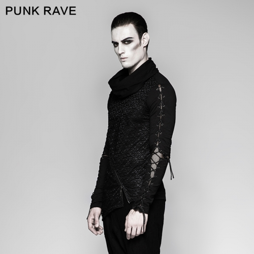 PUNK RAVE high collar drawstring long sleeves shirts T-472