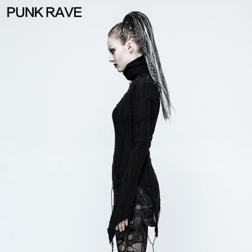 PUNK RAVE Stand Collar Micro-Breaks Women's T-shirt T-478