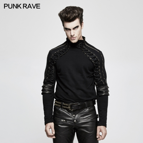 PUNK RAVE Autumn Turtleneck Men's T-shirt T-484