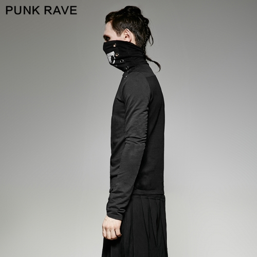 PUNK RAVE  printing  high collar man t-shirts T-439