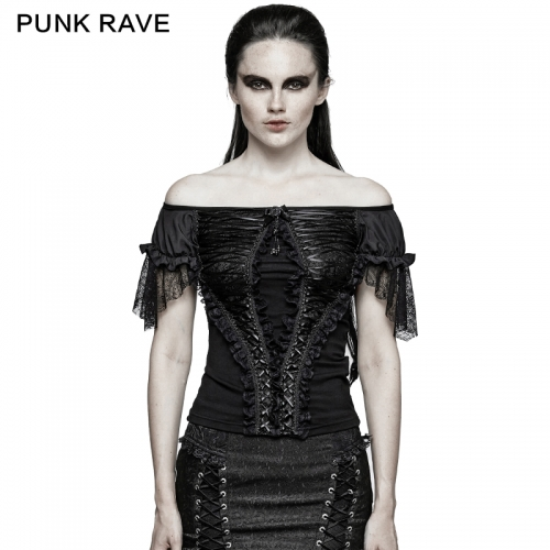 PUNK RAVE  3 Colors Wide Boat Neck Elegant T-shirt T-446