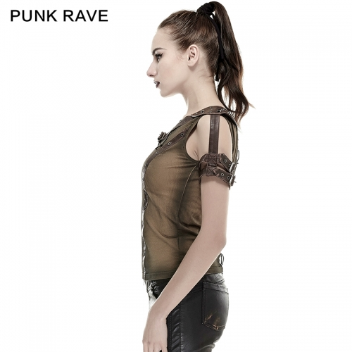 PUNK RAVE  Steampunk Armor Shoulder PU Leather T-Shirts T-433