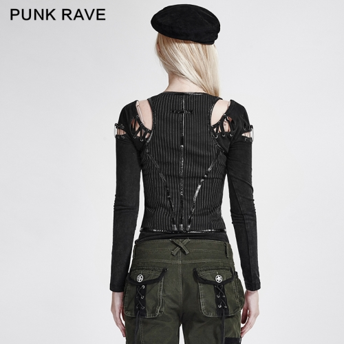 PUNK RAVE Fitted Vertical Stripes Ladies Vest Y-686