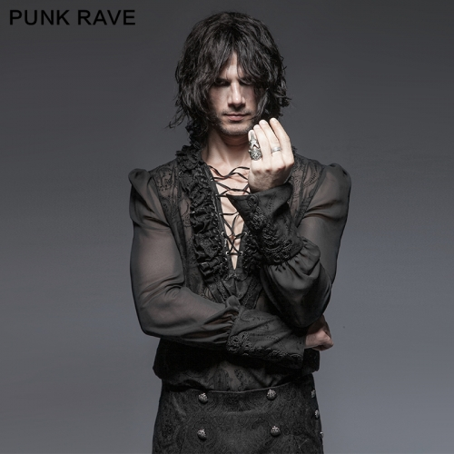 PUNK RAVE Vintage V Neck Silk Shirt Y-643