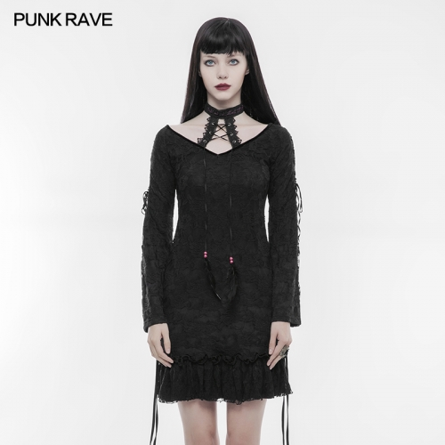 Punk Rave Sexy Lace Long T-shirt T-300
